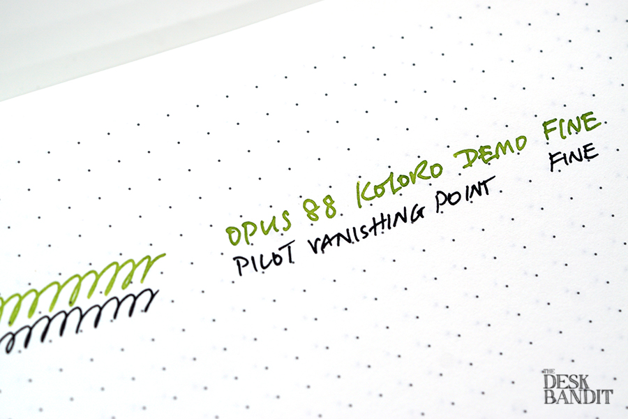 Opus 88 and Pilot Vanishing Point writing comparison